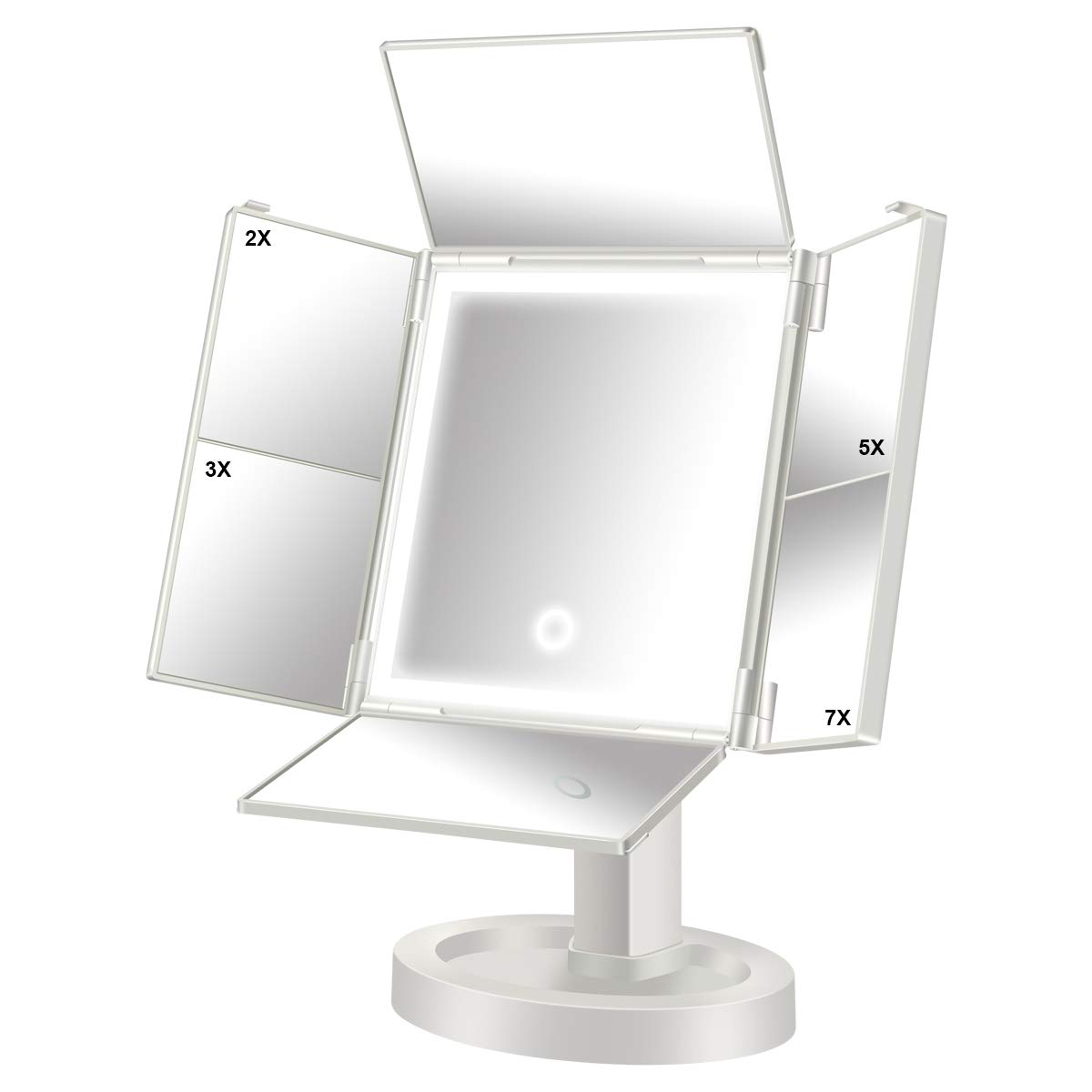 QIMAOO Makeup Vanity Mirrors with Light, 2×/3×/5×/7× Magnifying Soft Natural Light Ultra-Thin Stable Base, 34 Led Lighted Mirror with Touch Screen