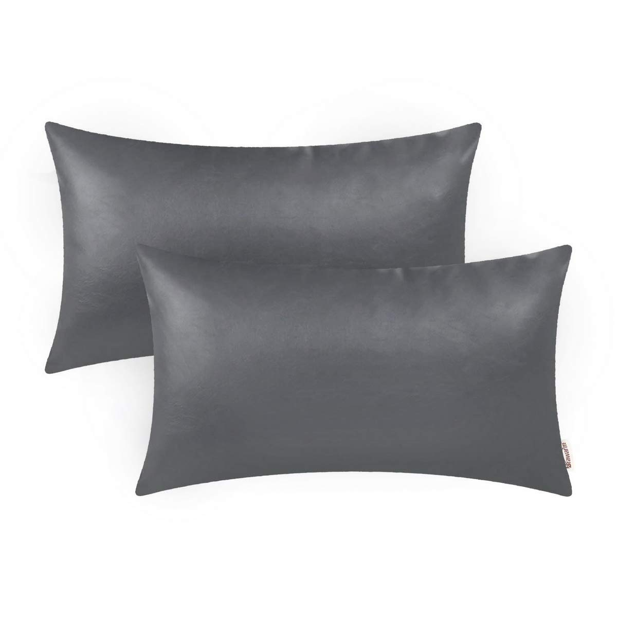 BRAWARM Pack of 2 Cozy Bolster Pillow Covers Cases for Couch Sofa Home Decoration Solid Dyed Soft Faux Leather Both Sides 12 X 20 Inches Charcoal Gray