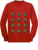 Christmas Tree Funny Faces Xmas Youth Kids Long Sleeve T-Shirt