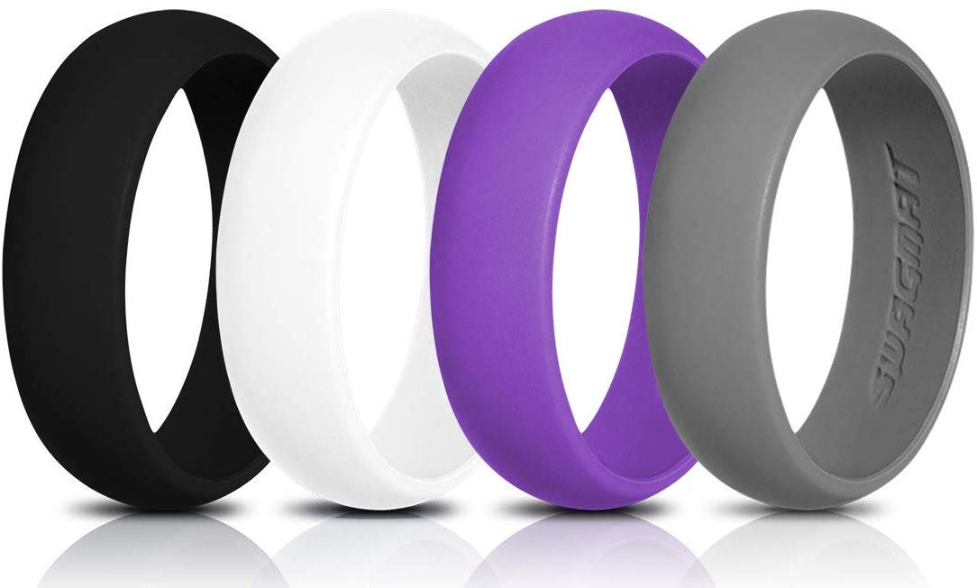 Swagmat Women's Silicone Wedding Ring – 4 Ring Pack – Black, Boulder Gray, Seashell White, Royal Purple - 5.5 mm Width - 2 mm Thickness