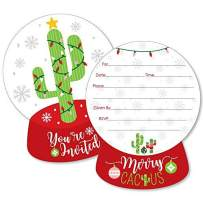 Big Dot of Happiness Merry Cactus - Shaped Fill-in Invitations - Christmas Cactus Party Invitation Cards with Envelopes - Set of 12