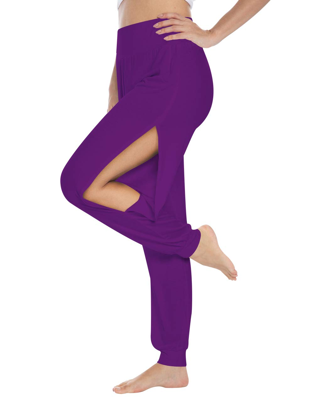 fitglam Women's Harem Yoga Pants Side Slit Lounge Workout Beach Jogger Pant