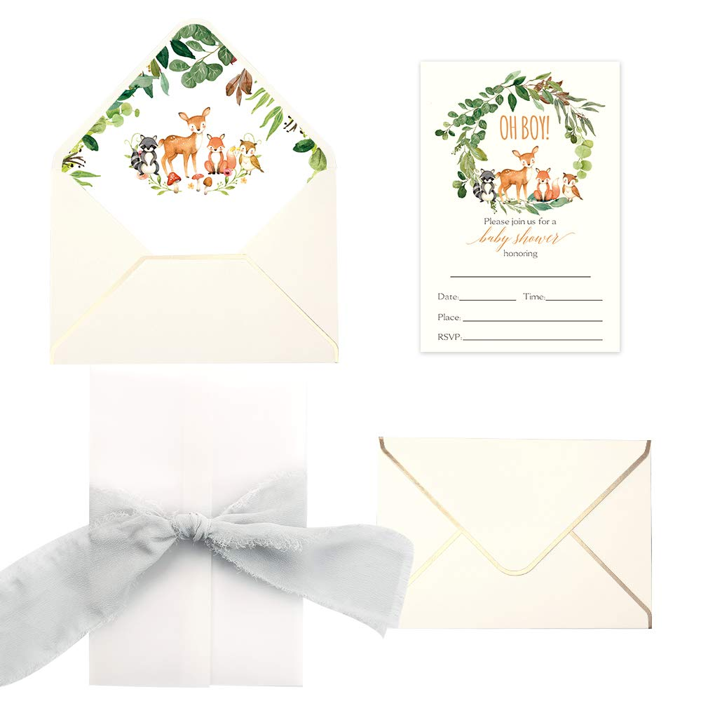 Doris Home 250 GSM 5 x7.3 inch Invitations Cards with Envelopes and Printed Inner Sheets Baby shower (Cream Animals) (Cream Animals)