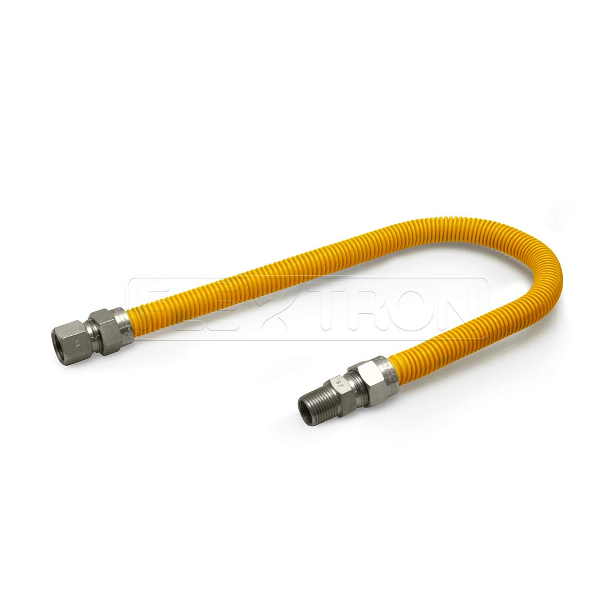 Flextron FTGC-YC12-30C Flexible Epoxy Gas Line, Gas Pipe Connector With 5/8 in. Outer Diameter and 1/2 in. Inside Diameter; 1/2 in. FIP x 1/2 in MIP Fittings; Yellow/Stainless Steel Gas Hose 30 in. Long