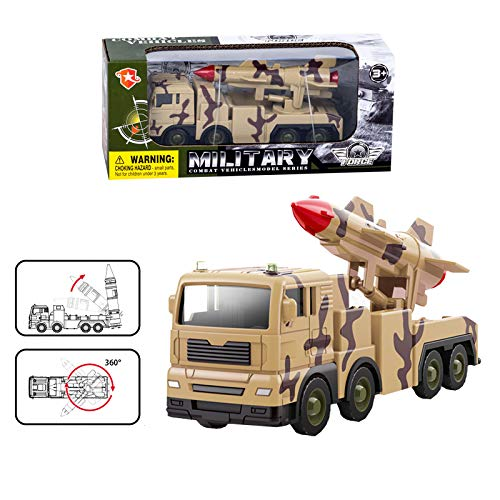 Gemini&Genius Army Assembly Truck with Moving Fighter Missile Launch Pad, Free Multi Launch Rocket System Toy,Movable Launcher Military Vehicle Transport Army Truck Camouflage Truck for Kids(A-Brown)