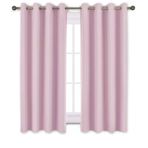 Nicetown Bedroom Curtains Room Darkening Draperies Room Darkening Drapes Panels For Bedroom Grommet Top 2 Pack Lavender Pink 52 X 54 Inches Long Thermal Insulated Privacy Assured