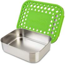 LunchBots Medium Uno Stainless Steel Sandwich Container - Open Design for Wraps - Salads or a Small Meal - Eco-Friendly - Dishwasher Safe and BPA-Free - Green Dots