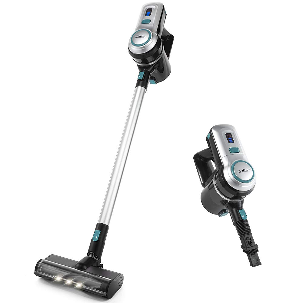Betitay Cordless Vacuum, Stick Vacuum Cleaner 4 in 1 with Powerful Suction, Portable Lightweight Handheld Cleaner for Home Hard Floor Carpet Pet Car with HEPA Filtration, LED Brush Head