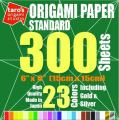 [Taro's Origami Studio] Standard 6 Inch One Sided 23 Colors 300 Sheets Square Easy Fold Premium Japanese Paper for Beginner (Gold and Silver Included)