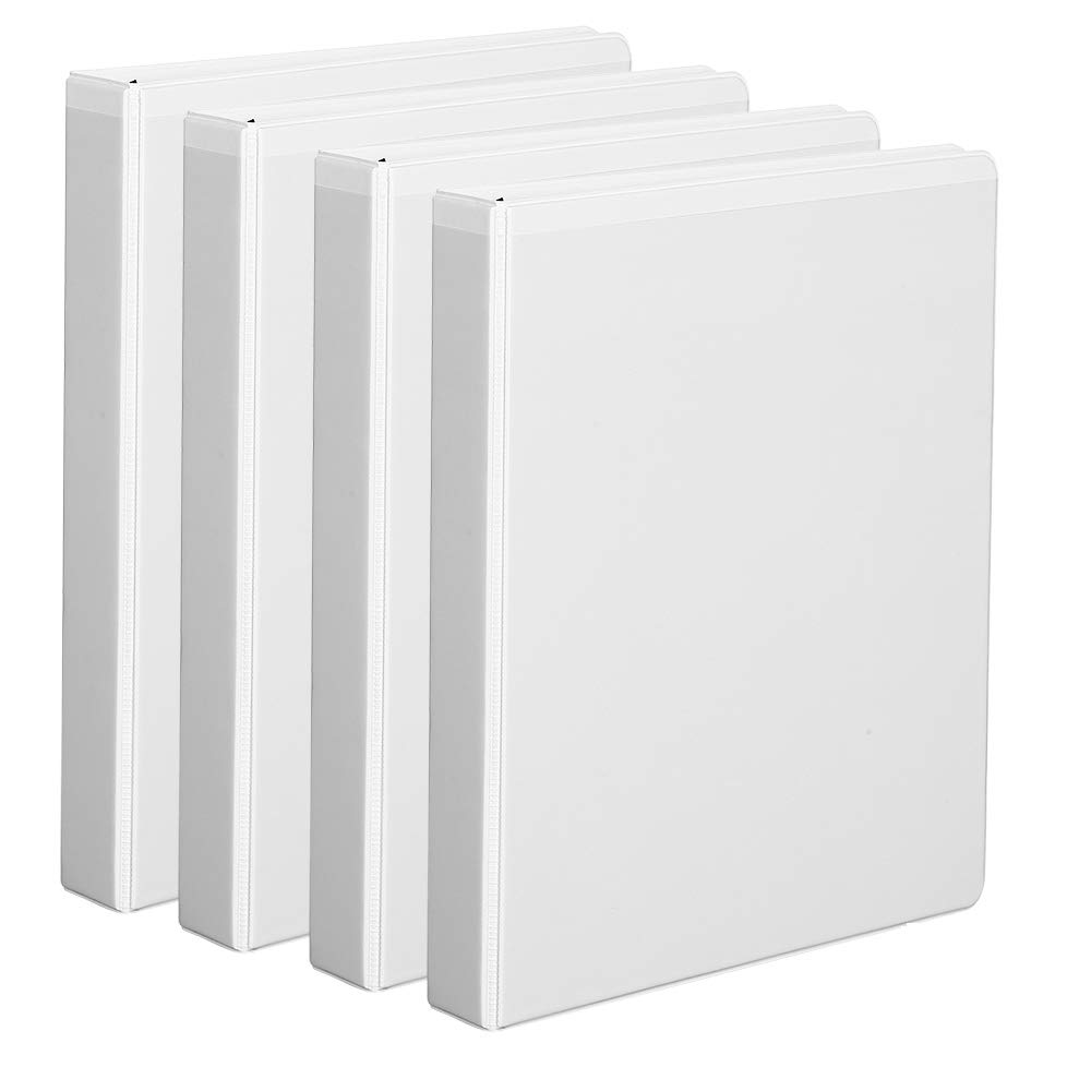 Comix Durable 3-Ring Binder with 1-inch D-Shaped Rings can Hold up to 225 Sheets of Paper, 4 Pack (A2133-4) (White)