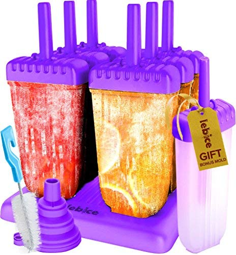 Popsicle Molds Set - BPA Free - 6 Ice Pop Makers + 1 Extra Mold + Silicone Funnel + Cleaning Brush + Recipes E-book - by Lebice …