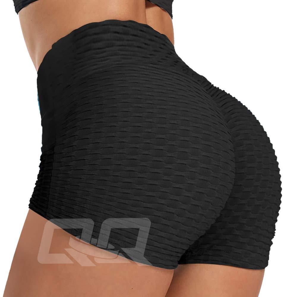 QOQ Women's High Waisted Yoga Shorts Runched Butt Lifting Textured Shorts Tummy Control Tie Dye Beach Hot Pants