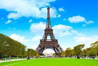 Baocicco Eiffel Tower Backdrop 10x8ft Photography Background Blue Sky White Cloud Paris Landmark City Landscape Tourist Attractions Leisure Vacation Honeymoon Wedding Shooting