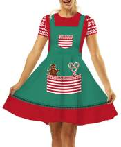 GLUDEAR Women's Ugly Christmas Xmas 3D Printed Short Sleeve Unique Flared Dress