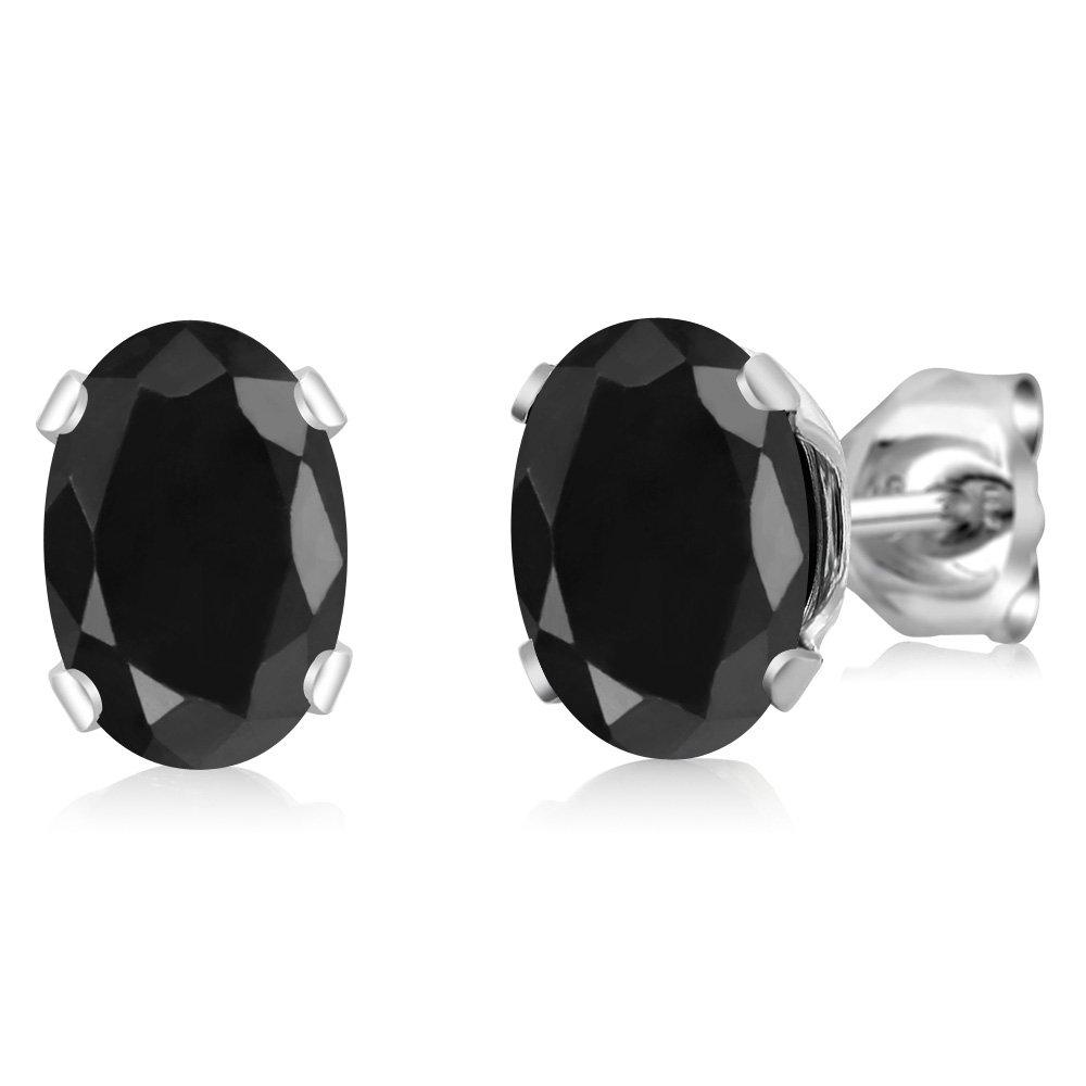 Gem Stone King 2.14 Ct Oval Black Sapphire 925 Sterling Silver 4-prong Stud Earrings For Women