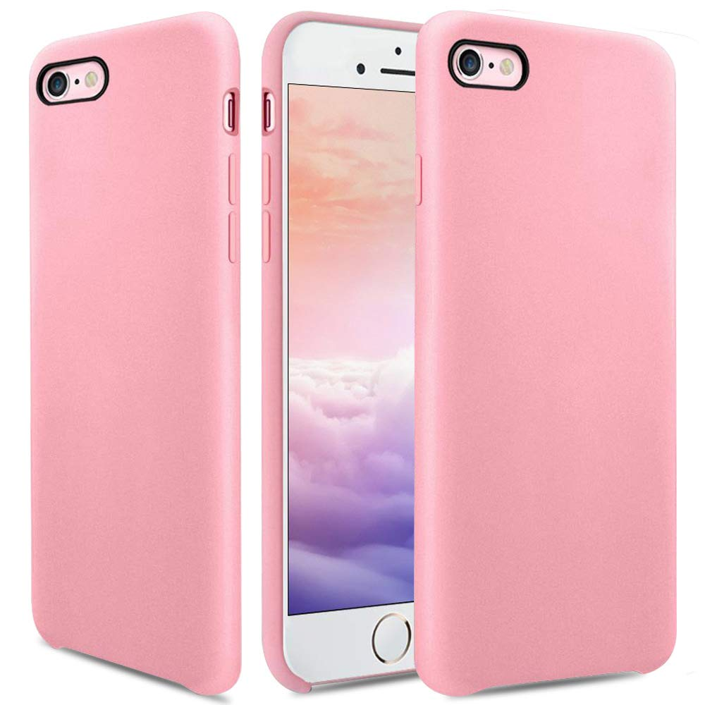 OCYCLONE iPhone 8 Case, iPhone 7 Case, [Ultra-Thin Series] Liquid Silicone iPhone 8 / iPhone 7 Case Rubber Shockproof with Soft Microfiber Cloth Cushion Pink Slim Fit Protective Case - Pink