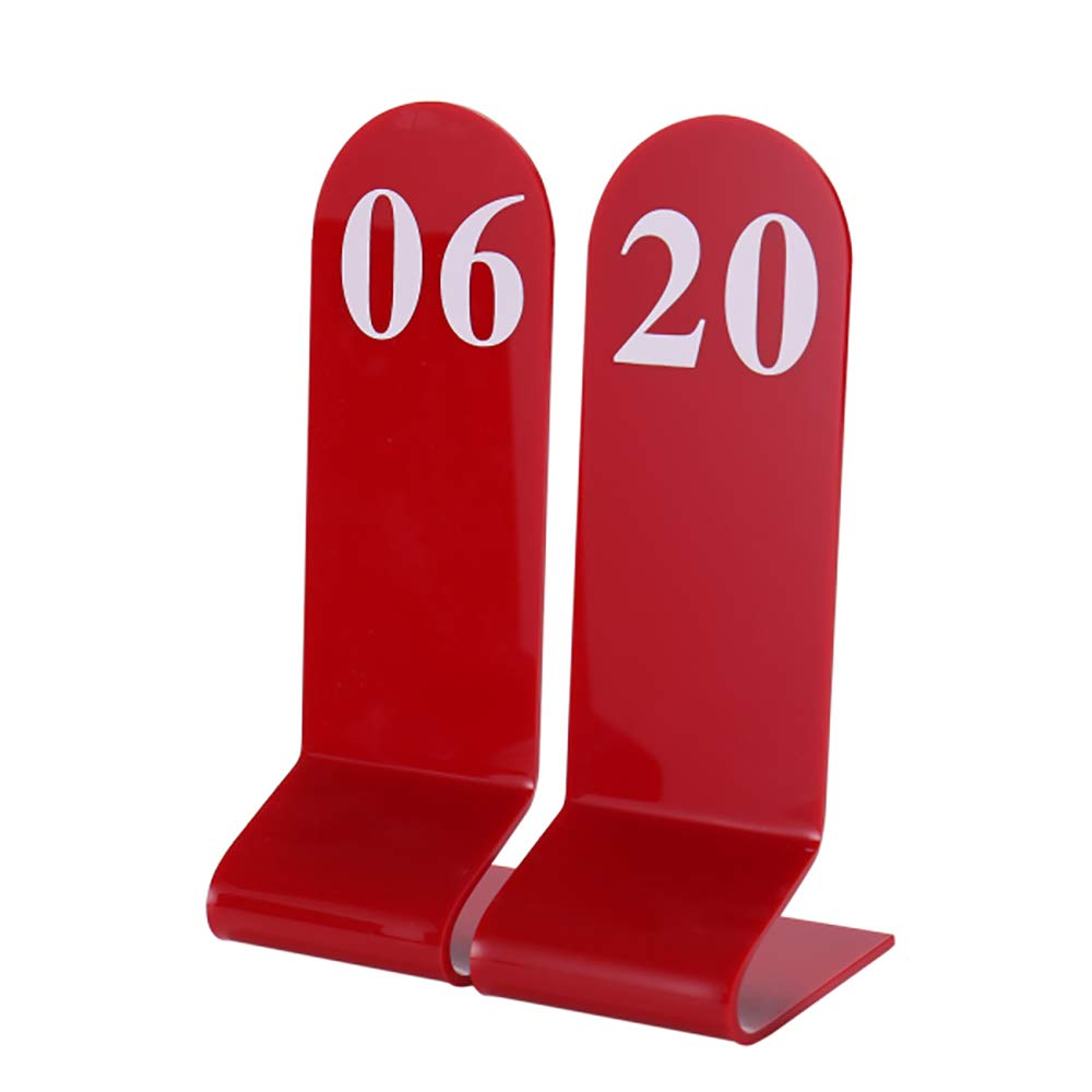 Aspire 10PCS Acrylic Table Numbers, Tent Style Numbers Sign, Double Sided Table Number Card for Restaurant-Red-Number 1to10