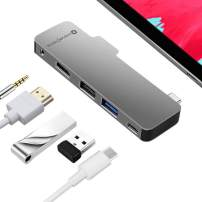 "NOV8Tech USB C Hub for iPad Pro, 4K HDMI Dongle Adapter for iPad Pro 11""/12.9"" 2020 2019 2018 20 19 18 5-in-1 Docking Station with USB C 100W PD Charger, USB 3.0, USB 2.0, 3.5mm Headphone Jack"