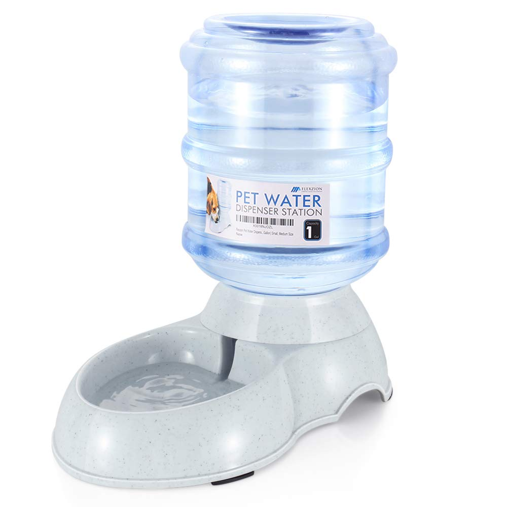 Flexzion Pet Water Dispenser Station - Replenish Pet Waterer for Dog Cat Animal Automatic Gravity Water Drinking Fountain Bottle Bowl Dish Stand