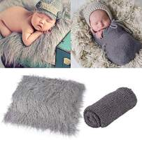 Outgeek Newborn Baby Photography Props Photo Blanket Long Hair Photography Wrap Shaggy Area Rug Baby Photo Prop (Grey and Dark Grey)