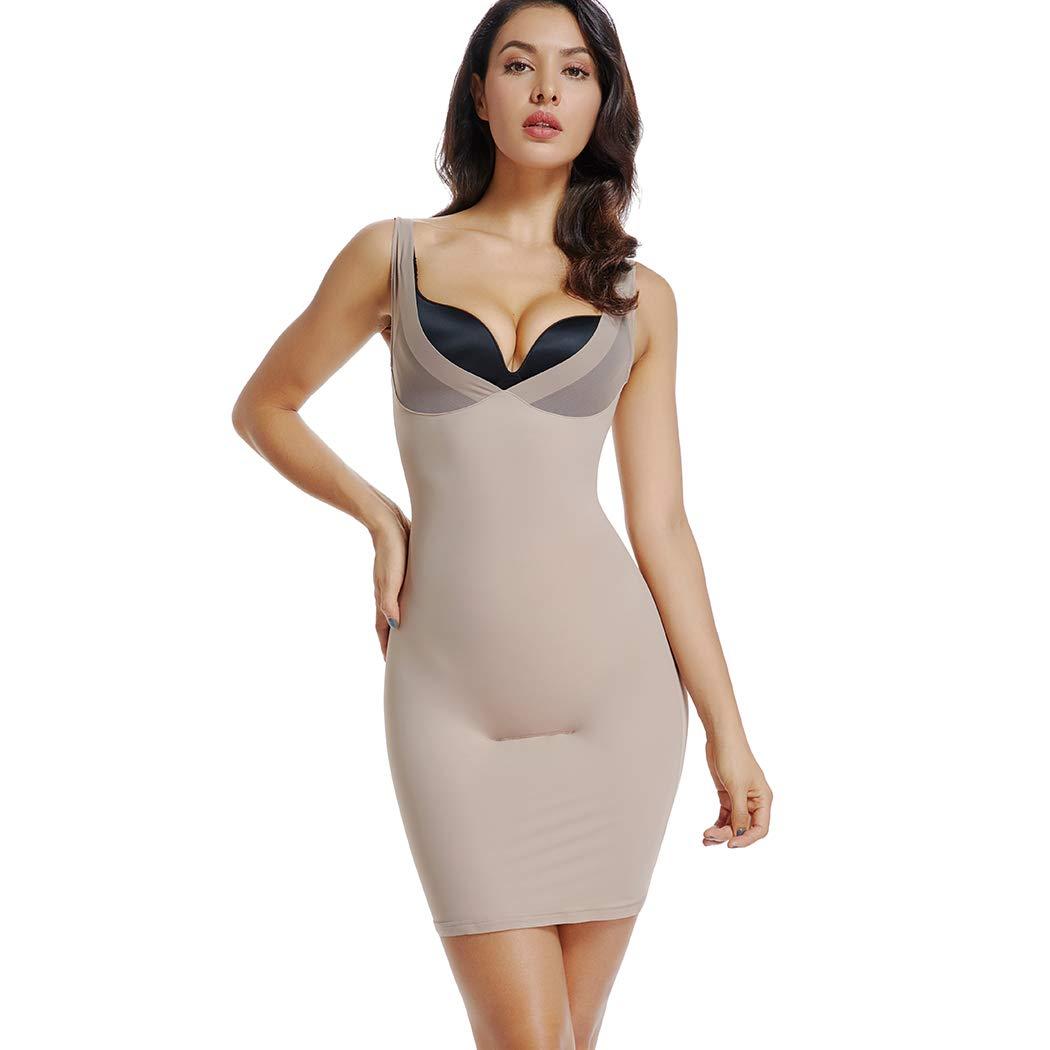 Full Slips for Women Under Dresses Long Body Shaping Control Slip Slimming V Neck Slip