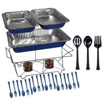 Tiger Chef 33-Piece Blue Food Warmer Chafing Dish Buffet Set, Disposable Chafing Dishes with Colorful Baking Pans, Fuel Gel Burns 2.5 Hours, Serving Utensils and Plastic Cutlery