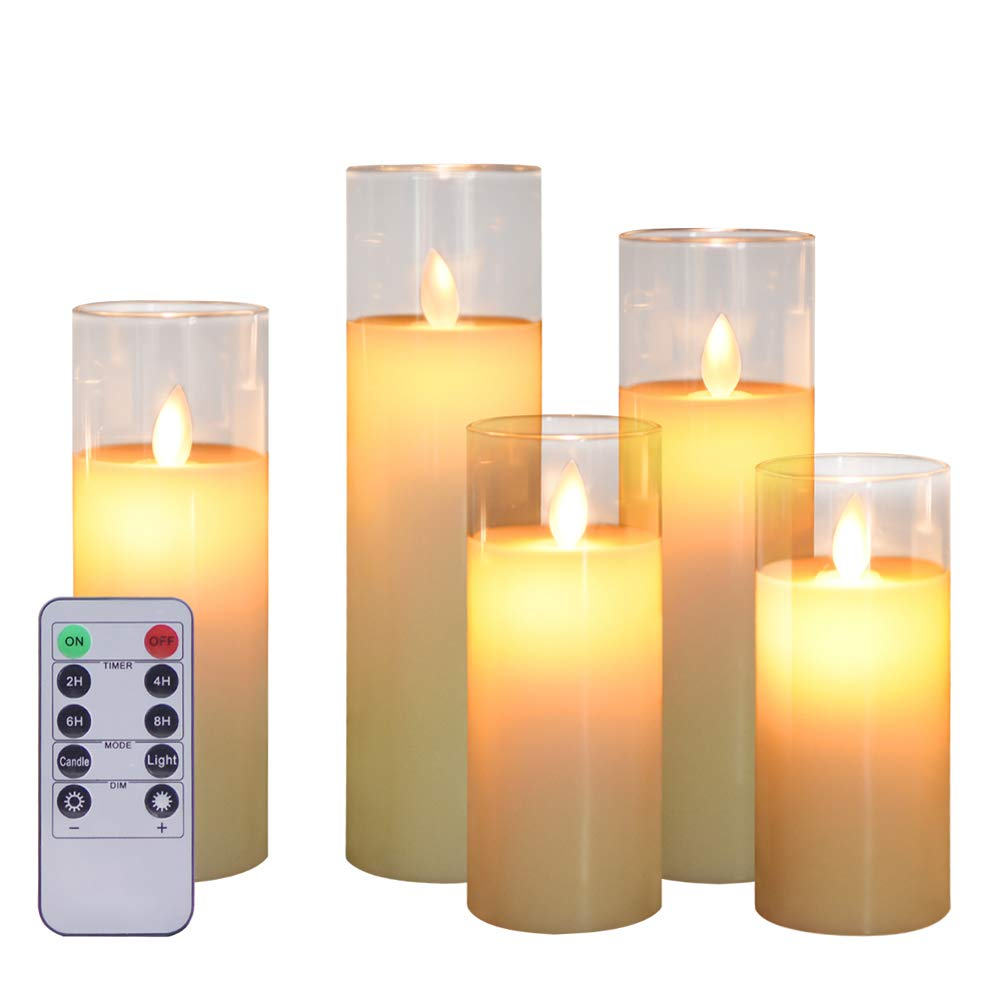 """ACROSS Flickering Flameless Candles Battery Operated Pillar Real Wax Moving Wick LED Glass Candle Sets with Remote Control Timer for Halloween Holiday Christmas Wedding Party, 5"""" 6"""" 7"""" 8"""" Pack of 5"""