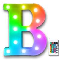 YOEEN Colorful LED Marquee Letter Lights Sign with Remote Timer Light Up Multicolor Letters Battery Powered 16 Color Changing Alphabet Letters for Wedding Birthday Party Christmas Home Bar Decor (B)
