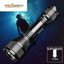 ORCATORCH D550 Scuba Dive Light 2019 Upgraded Version with BONUS Cooler Sticker, LED Underwater Flashlight Kit includes Rechargeable Battery, Wrist Strap, O-Rings