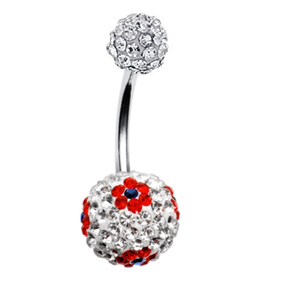 BodyJ4You Belly Button Ring Large Round CZ Crystal Disco Ball Created-Opal Steel 14G Navel Barbell