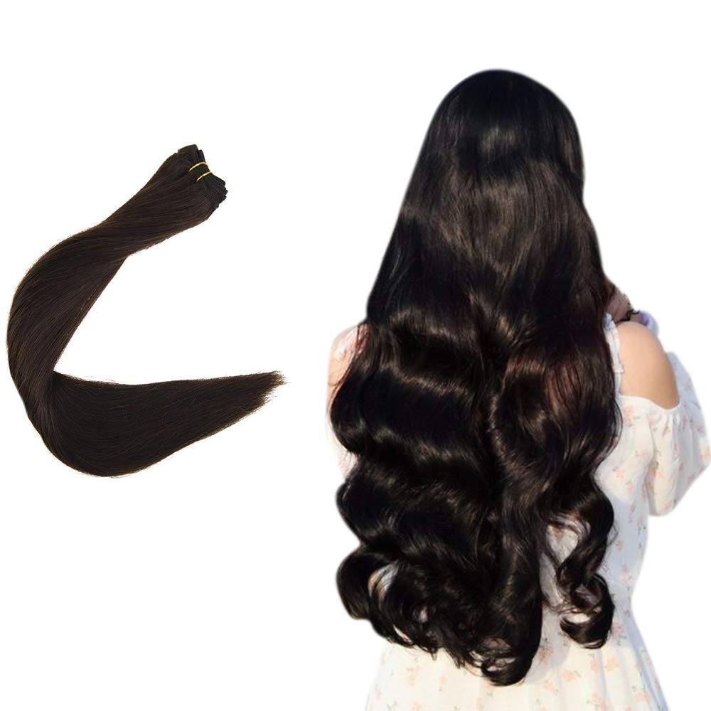 Easyouth Remy Hair Weft Bundles Brazilian Human Hair Sew in Hair Extensions (14inch, 70g, Color 2 Darkest Brown), Easy to Install and Remove Hair Extensions, Soft and Shiny.