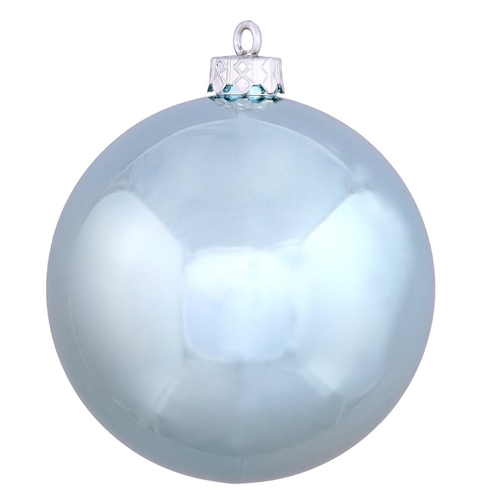 """Vickerman Shiny Finish Seamless Shatterproof Christmas Ball Ornament, UV Resistant with Drilled Cap, 12 per Bag, 2.75"""", Baby Blue"""