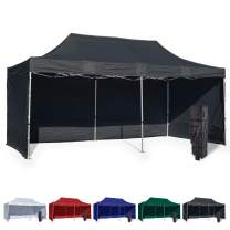 Vispronet 10x20 Instant Canopy Tent and 3 Side Walls – Commercial Grade Steel Frame with Water-Resistant Canopy Top and Sidewalls – Bonus Canopy Bag and Stake Kit Included (Black)