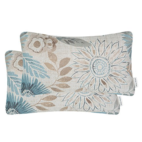 Mika Home Pack of 2 Decorative Oblong Rectangular Throw Pillow Cover Cushion Cases for Chair,Sunflower Pattern,12x20 Inches, Blue Cream