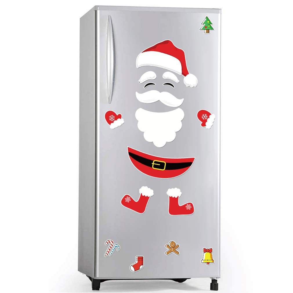 Christmas Refrigerator Magnets Santa Claus Home Decor,Christmas Decor magnets Fridge Magnets for refrigerator Magnets Hat Garage Door Car Metal Office Classroom,17 PCs