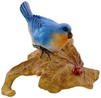 Top Collection Miniature Fairy Garden and Terrarium Statue, Bluebird on Leaf with Ladybug