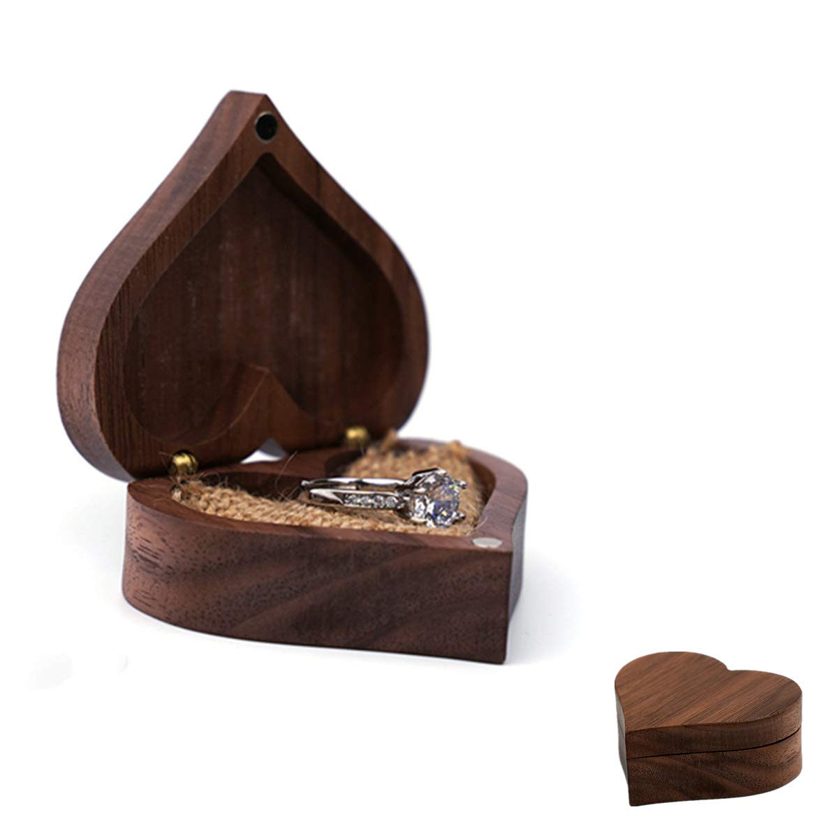 Walnut Wood Ring Box, Solid Wood Engagement Ring Jewelry Display Box with Vintage Linen, for Necklaces, Earrings, Bracelet, Wedding Ring Holder Box Gift (Heart-shaped box)