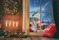 Laeacco 7x5ft Windowsill Backdrops Merry Christmas Happy New Year Photography Background Santa Claus Gift Candle Light Starry Sky Christmas Wreath Wood Board Pillow Studio Props Photo Studio