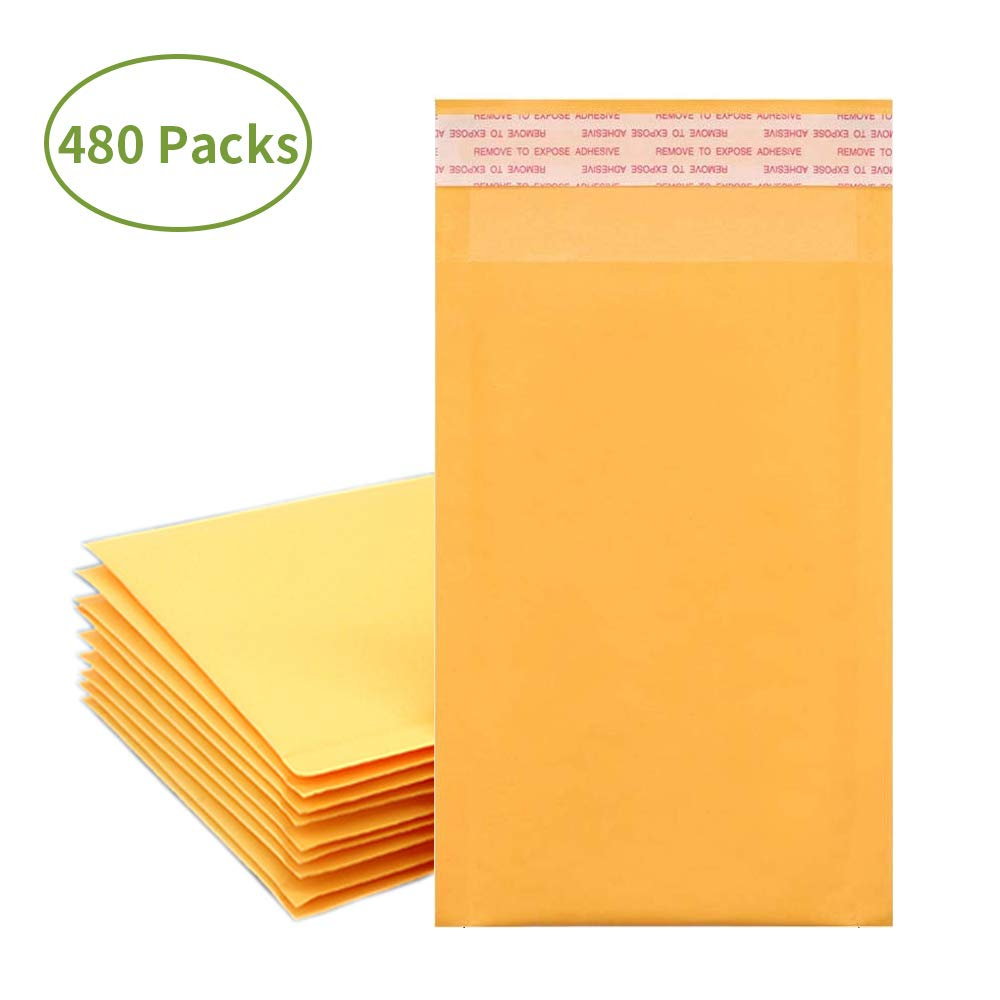 Anylabel 4 x 8 Inch Self Seal Kraft Bubble Mailers Padded Envelopes #000 (480 Pack)
