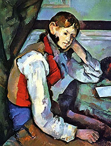 $50-$4000 Hand Painted Art Paintings by College Teachers - Paul Cezanne Boy in a Red Vest French Post-Impressionist Oil Painting Reproduction - Wall Decor Canvas Old Famous Works -Size04