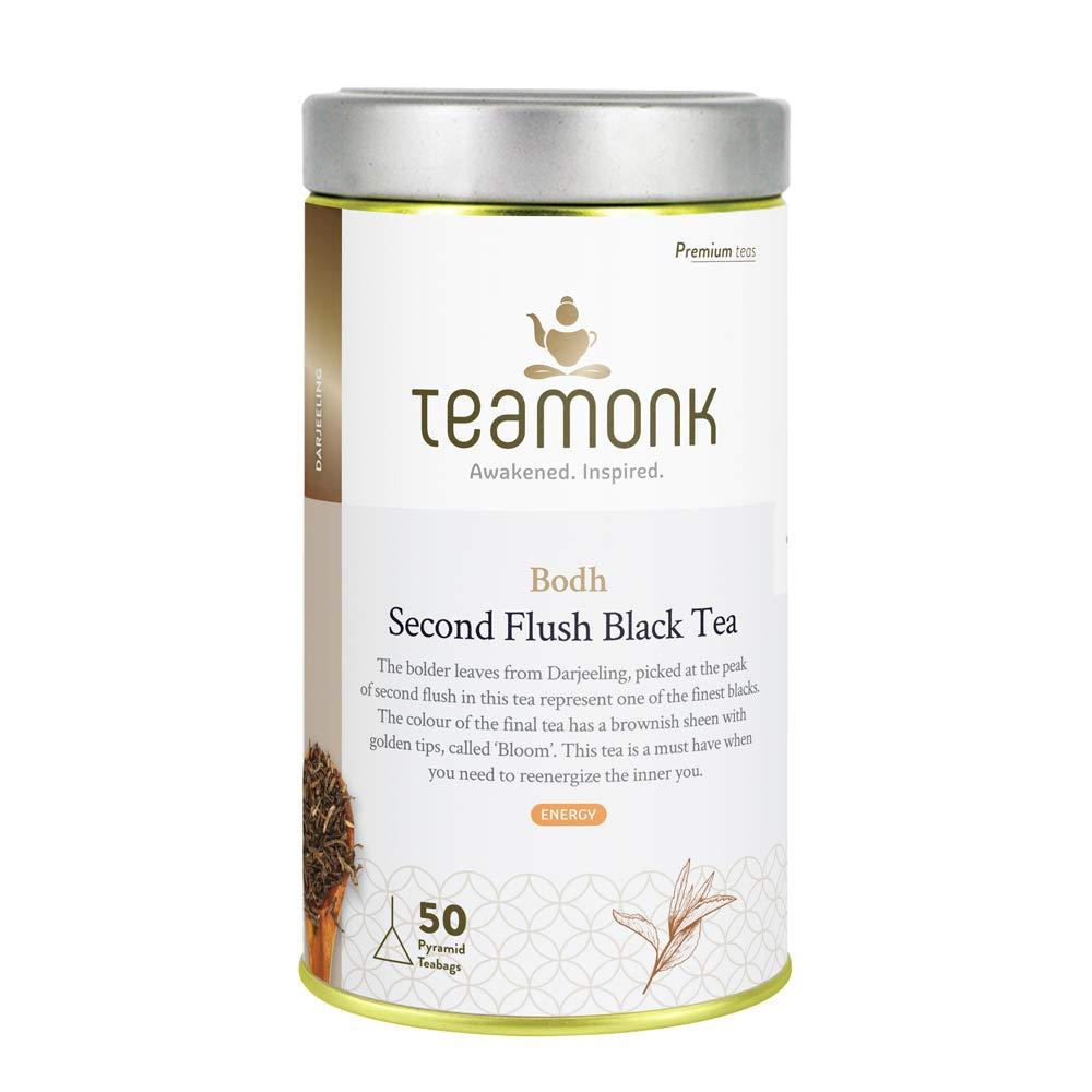 Teamonk Organic Darjeeling Tea Second Flush Tea Bags - 50 Tea Bags | Premium Black Tea Bags | 100% Natural Tea | No Additives