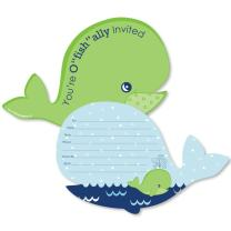 Big Dot of Happiness Tale of a Whale - Shaped Fill-in Invitations - Baby Shower or Birthday Party Invitation Cards with Envelopes - Set of 12