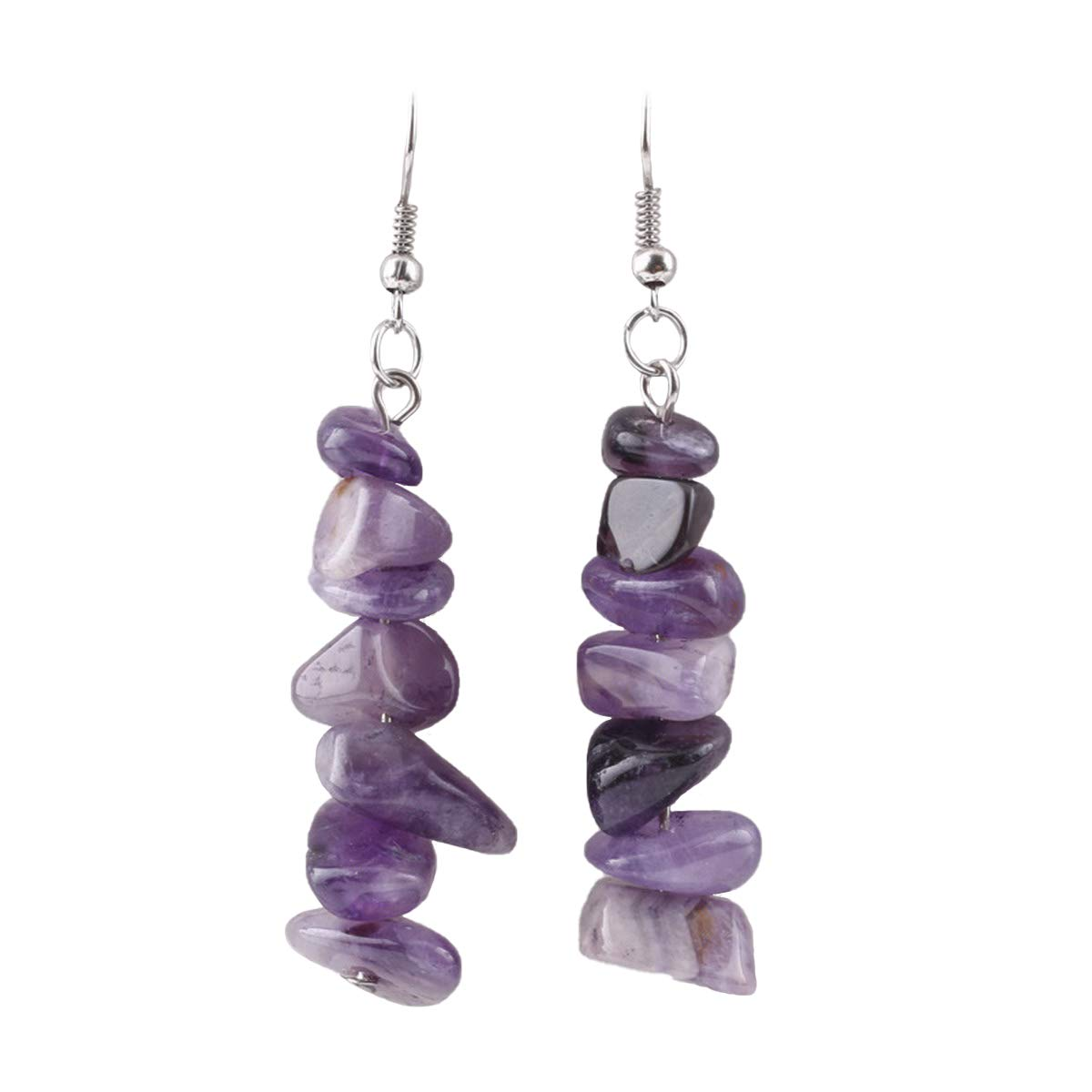 """IDB Delicate Simulated Natural Gemstone Drop Hook Earrings with a Large 2 13/32"""" (2.40"""" / 60mm) Drop- Threaded Gemstone - Multiple Colors Available"""