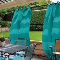 cololeaf Water Repellent Outdoor Decor Panel Grommet at top and Bottom Curtains/Drapes Panels for Patio,Front Porch,Gazebo, Pergola, Cabana, Dock, Beach Home,Turquoise 120W x 102L Inch (1 Panel)