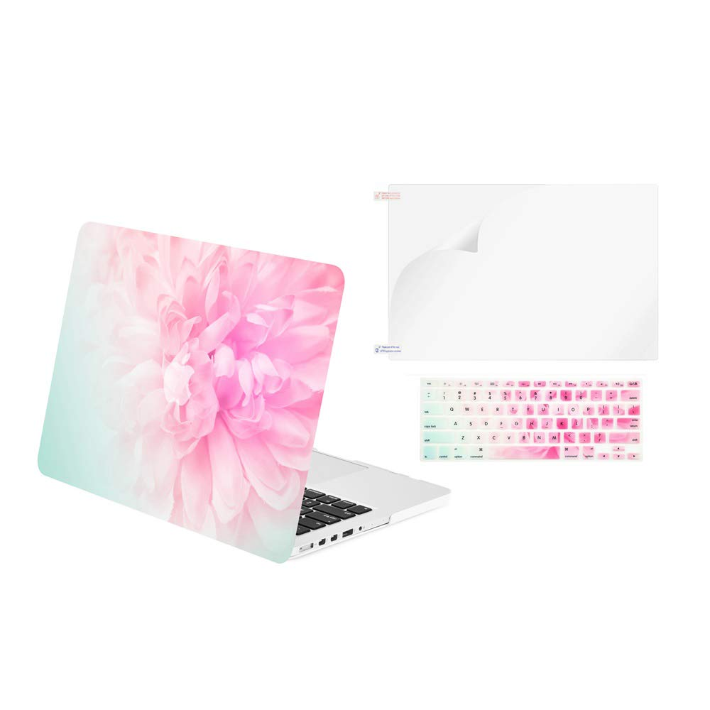 """TOP CASE - 3 in 1 Variety Bundle Graphics Matte Hard Case, Keyboard Cover, Screen Protector Compatible Older Gen. MacBook Pro 13"""" Retina Display A1425 / A1502 (Release 2012-2015) - Pink Peony"""