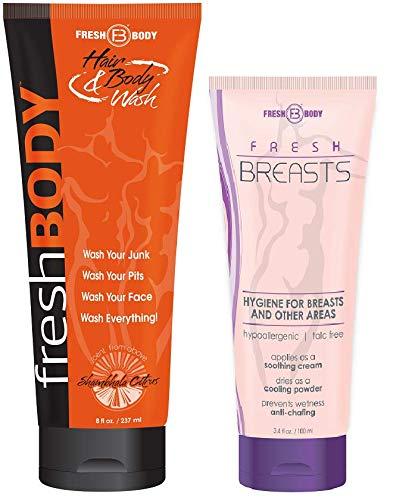FRESH BREASTS and FRESH BODY WASH! Fresh Breasts 3.4 oz Women's Antiperspirant and Fresh Body Wash 8 oz All In One Hair & Body Wash!