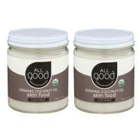 All Good Organic Coconut Oil Skin Food - Natural Moisturizing Skin Care - Non GMO - Vegan (2-Pack) (Coconut)