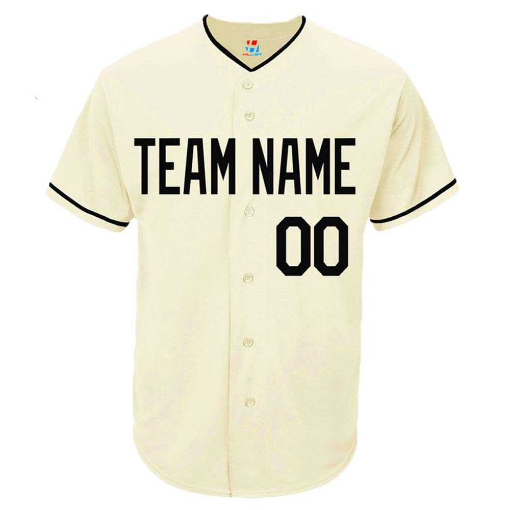 Pullonsy Cream Custom Baseball Jersey for Men Women Youth Embroidered Player Name & Numbers S-8XL - Design Your Own