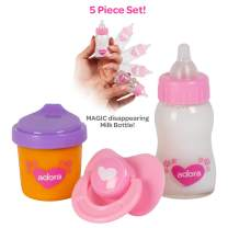 Adora Baby Doll Accessories Magic Sippy Set, Pacifier and Magic Baby Doll Bottles with Disappearing Milk and Orange Juice