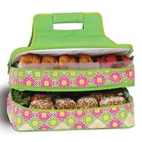 "Picnic Plus 18"" Casserole Carrier 2 Level Thermal Insulated Hot and Cold Food Carrier Double Layer Food Carrier Bag Potluck Carrier With Bonus Containers (Green Gazebo)"
